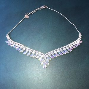 Silver and Iridescent Tear-Drop Statement Necklace
